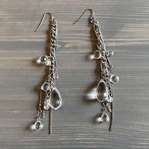 Silver beaded chain drop earrings